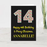 [ Thumbnail: Happy 14th Birthday & Merry Christmas, Custom Name Card ]