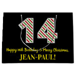 [ Thumbnail: Happy 14th Birthday & Merry Christmas, Custom Name Gift Bag ]