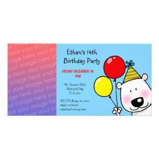 Happy 14th birthday party invitations photo card