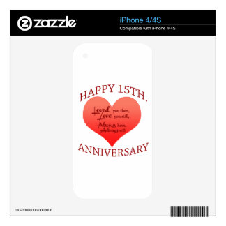 Happy 15th. Anniversary Decal For The iPhone 4S