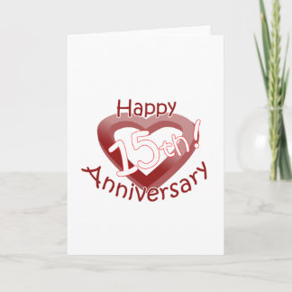"""Happy 15th Anniversary"" Heart design Card"