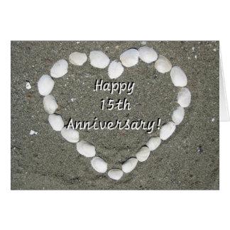 Happy 15th Anniversary Seashell heart card