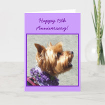 Happy 15th Anniversary Yorkshire Terrier card