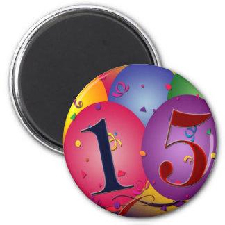 Happy 15th Birthday 2 Inch Round Magnet