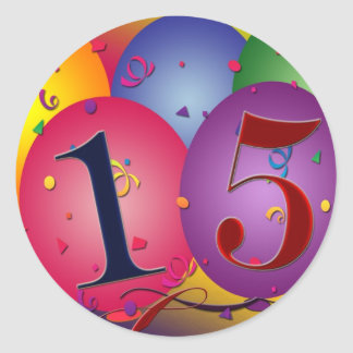 Happy 15th Birthday Classic Round Sticker