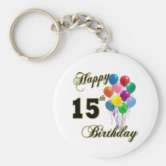 Happy 15th Birthday Gifts and Birthday Apparel Basic Round Button Keychain