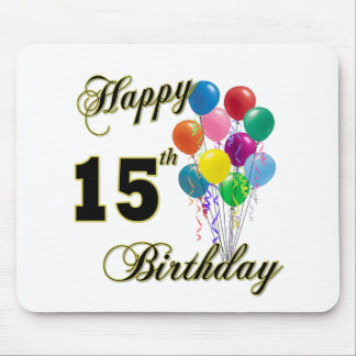Happy 15th Birthday Gifts and Birthday Apparel Mouse Pad