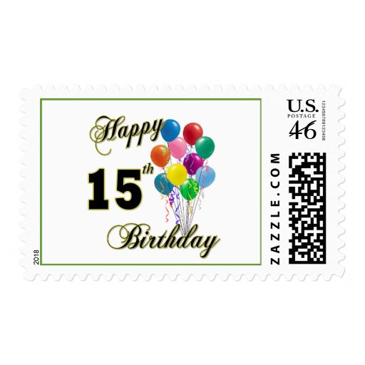 Happy 15th Birthday Gifts and Birthday Apparel Stamp