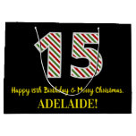 [ Thumbnail: Happy 15th Birthday & Merry Christmas, Custom Name Gift Bag ]