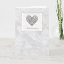 Happy 15th Wedding Anniversary crystal heart card