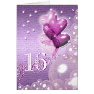 Happy 16th birthday balloons bright greeting card