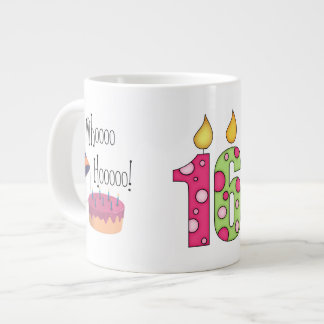 Happy 16th Birthday/Candles+Cake-Customize Name Large Coffee Mug