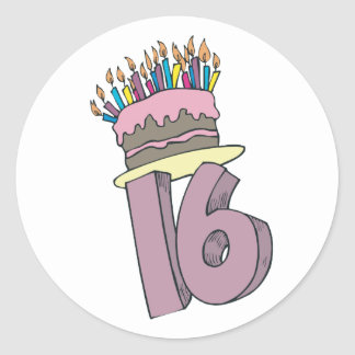 Happy 16th Birthday! Classic Round Sticker