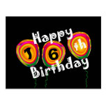 Happy 16th Birthday Colorful Balloons Postcard