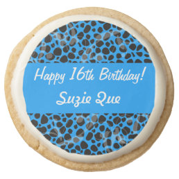 Happy 16th Birthday Electric Blue Cheetah Round Shortbread Cookie