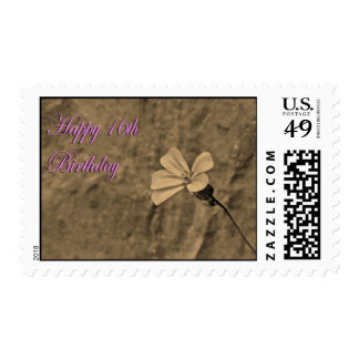 Happy 16th Birthday Flower and Stone in Sepia Postage Stamps