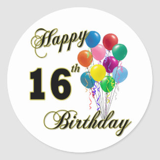 Happy 16th Birthday Gifts and Birthday Apparel Classic Round Sticker