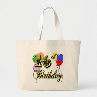 Happy 16th Birthday Gifts and Birthday Apparel Large Tote Bag