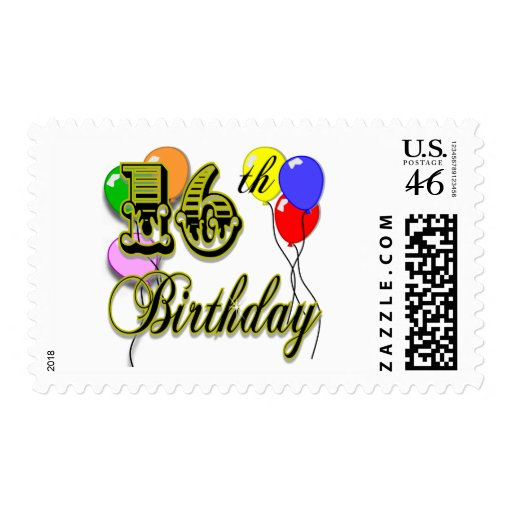 Happy 16th Birthday Gifts and Birthday Apparel Postage Stamps