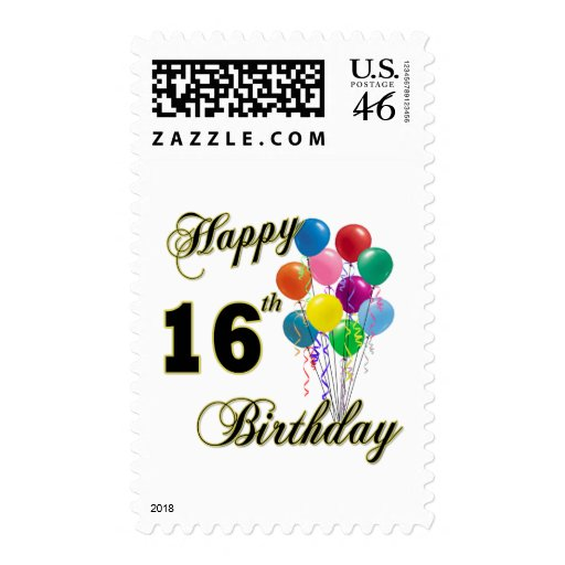Happy 16th Birthday Gifts and Birthday Apparel Stamps