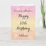 """Happy 16th Birthday Granddaughter Card<br><div class=""""desc"""">A beautiful happy 16th birthday granddaughter card,  which you can easily personalize with her name. This granddaughter birthday card has a bokeh design with the background in a light pink,  light yellow and light orange. You can also personalize the birthday message inside the card if you would like.</div>"""
