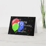 "Happy 16th Birthday Grandson Card<br><div class=""desc"">A birthday card for a Grandson's 16th birthday with a black background,  a blue,  red and green balloon and scattered swirls and stars.</div>"