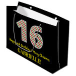 [ Thumbnail: Happy 16th Birthday & Merry Christmas, Custom Name Gift Bag ]