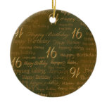 Happy 16th Birthday Weathered Brass Ceramic Ornament