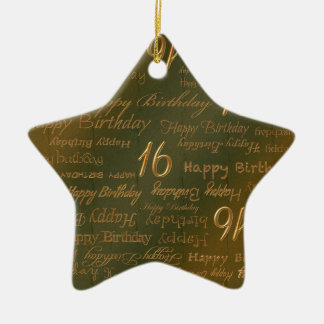 Happy 16th Birthday Weathered Brass Double-Sided Star Ceramic Christmas Ornament