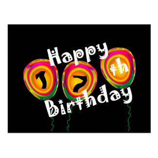 Happy 17th Birthday Colorful Balloons Postcard