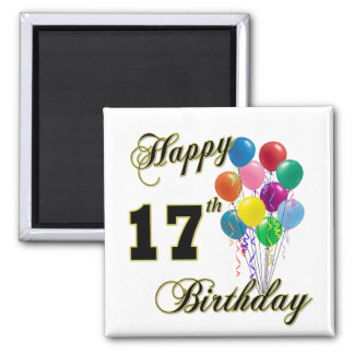 Happy 17th Birthday Design with Balloons 2 Inch Square Magnet