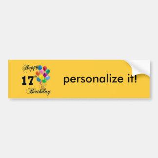 Happy 17th Birthday Design with Balloons Bumper Sticker