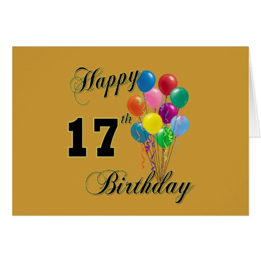 Happy 17th Birthday Design With Balloons Card Zazzle Happy 17th Birthday Wishes