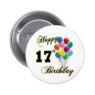 Happy 17th Birthday Design with Balloons Pinback Button