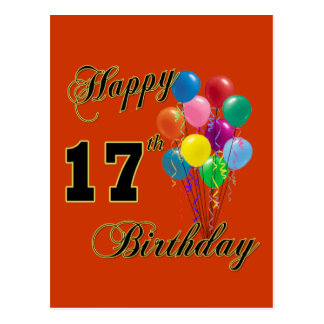Happy 17th Birthday Design with Balloons Postcard