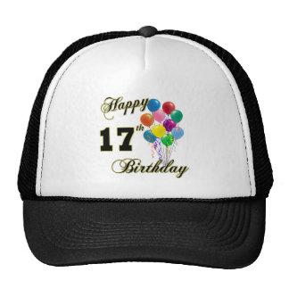 Happy 17th Birthday Design with Balloons Trucker Hat