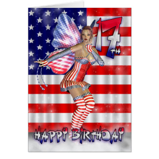 Happy 17th Birthday fairy in her stars and stripes Card