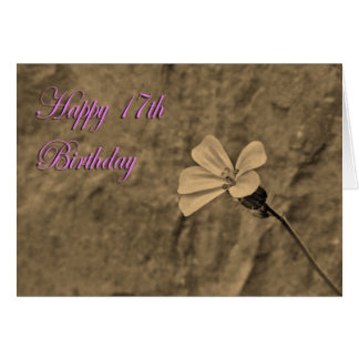 Happy 17th Birthday Flower and Stone in Sepia Card
