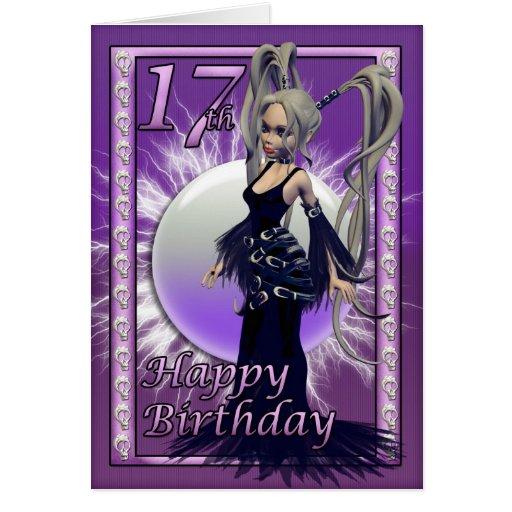 Happy 17th Birthday Gothic Doll Female, Cute Greeting Card