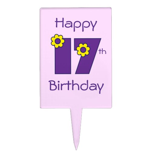 Happy 17th Birthday in Flores Purple Cake Topper