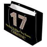 [ Thumbnail: Happy 17th Birthday & Merry Christmas, Custom Name Gift Bag ]