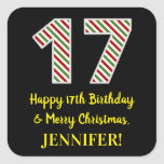 [ Thumbnail: Happy 17th Birthday & Merry Christmas, Custom Name Sticker ]