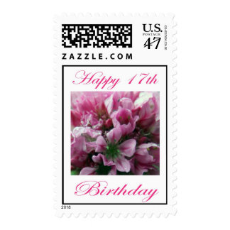 Happy 17th Birthday Pink and Green Flower Stamp