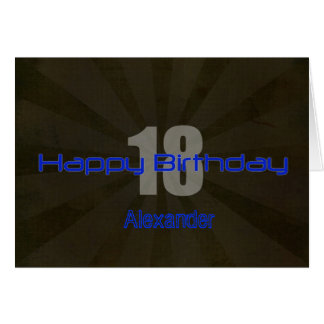 Happy 18th Birthday Black and Gray Teen Greeting Card