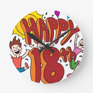 Happy 18th Birthday Cartoon Round Clock