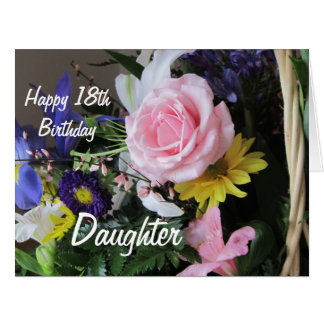 Happy 18th Birthday Daughter-Pink Rose Bouquet Large Greeting Card