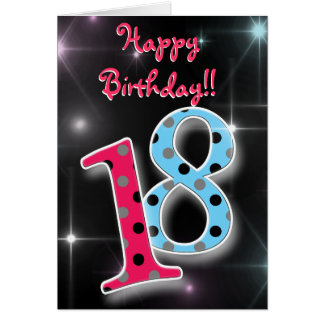 Happy 18th birthday fun & bright polka dot card