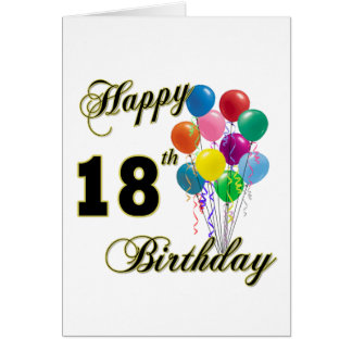 Happy 18th Birthday Gifts Greeting Card
