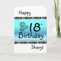 Happy 18th birthday graphic blue Turquoise name Card