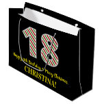 [ Thumbnail: Happy 18th Birthday & Merry Christmas, Custom Name Gift Bag ]